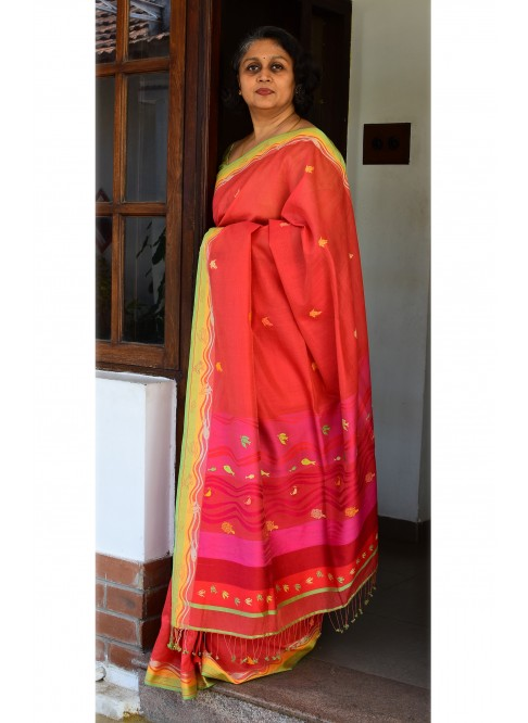 Red, Handloom Organic Cotton Saree
