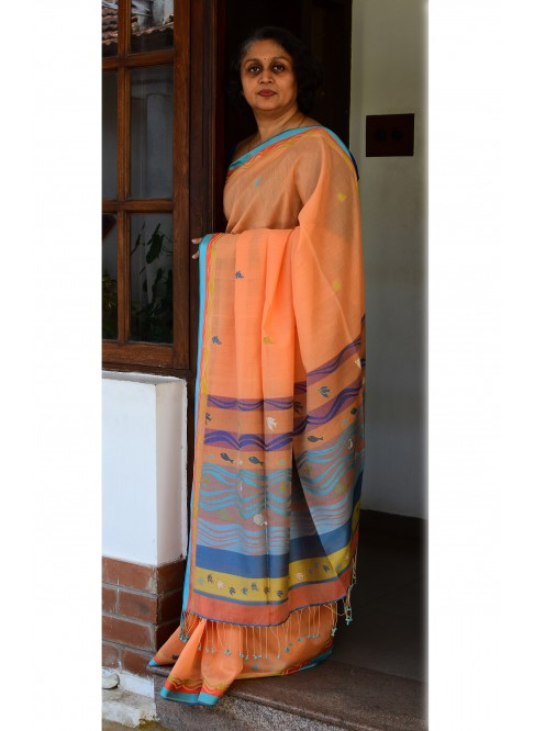 Yellowish Orange, Handloom Organic Cotton Saree
