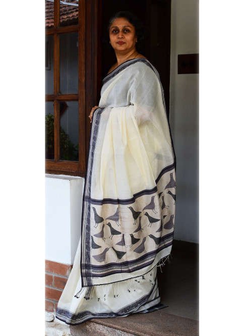 Black & White, Handloom Organic Cotton Saree