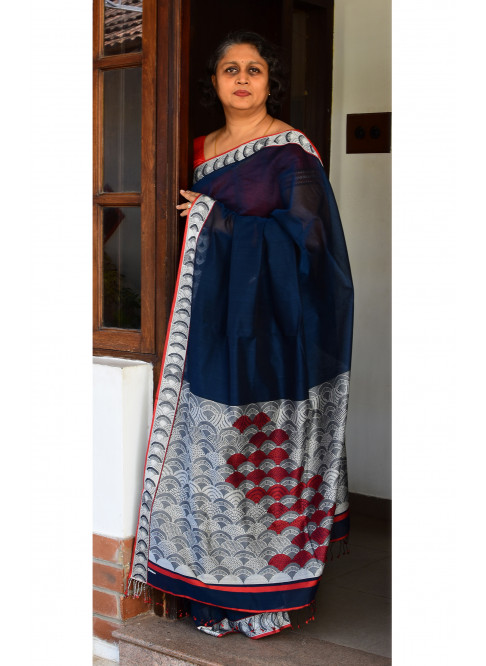 Midnight Blue, Handloom Organic Cotton Saree