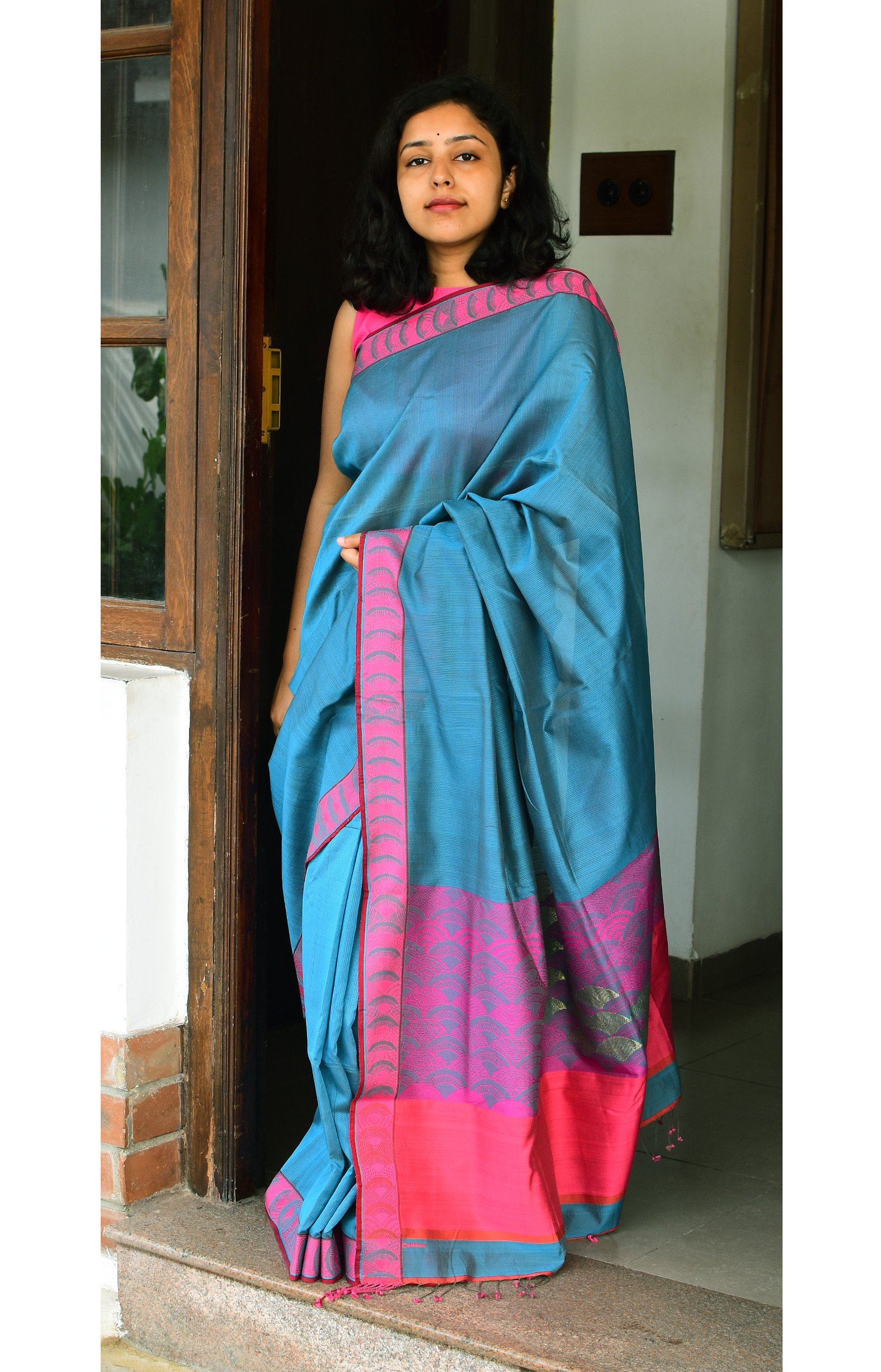 Greyish Blue, Handloom Organic Cotton Saree