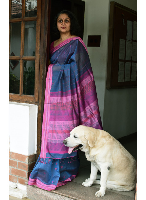 Bluish Grey, Handloom Organic Cotton Saree