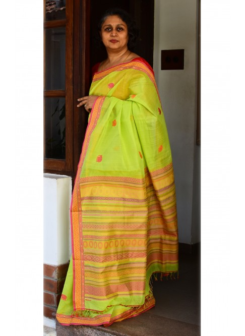 Greenish Yellow, Handloom Organic Cotton Saree
