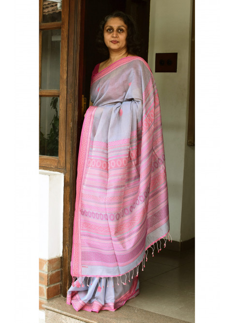 Grey, Handloom Organic Cotton Saree