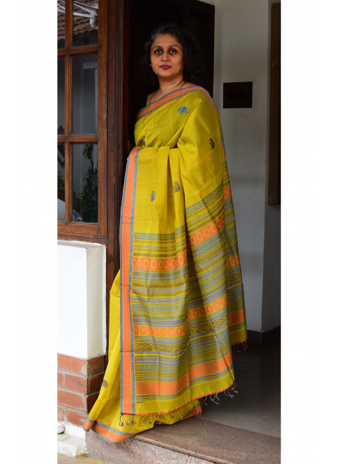 Olive Green, Handloom Organic Cotton Saree
