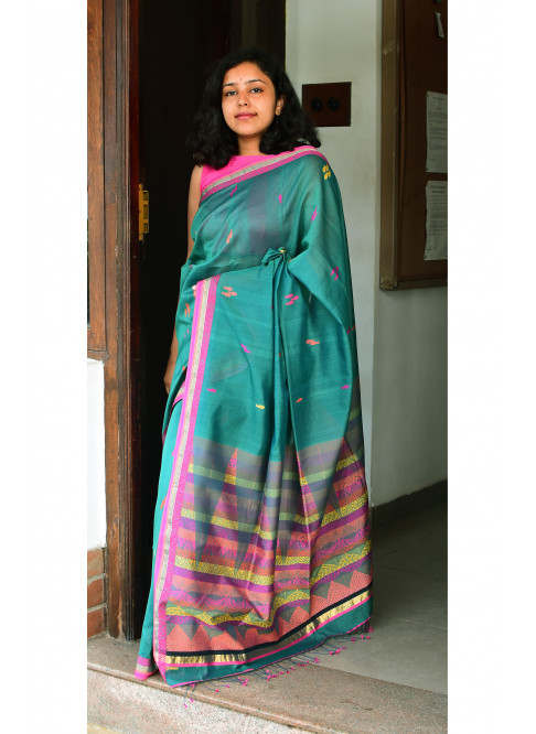 Seagreen, Handloom Organic Cotton Saree