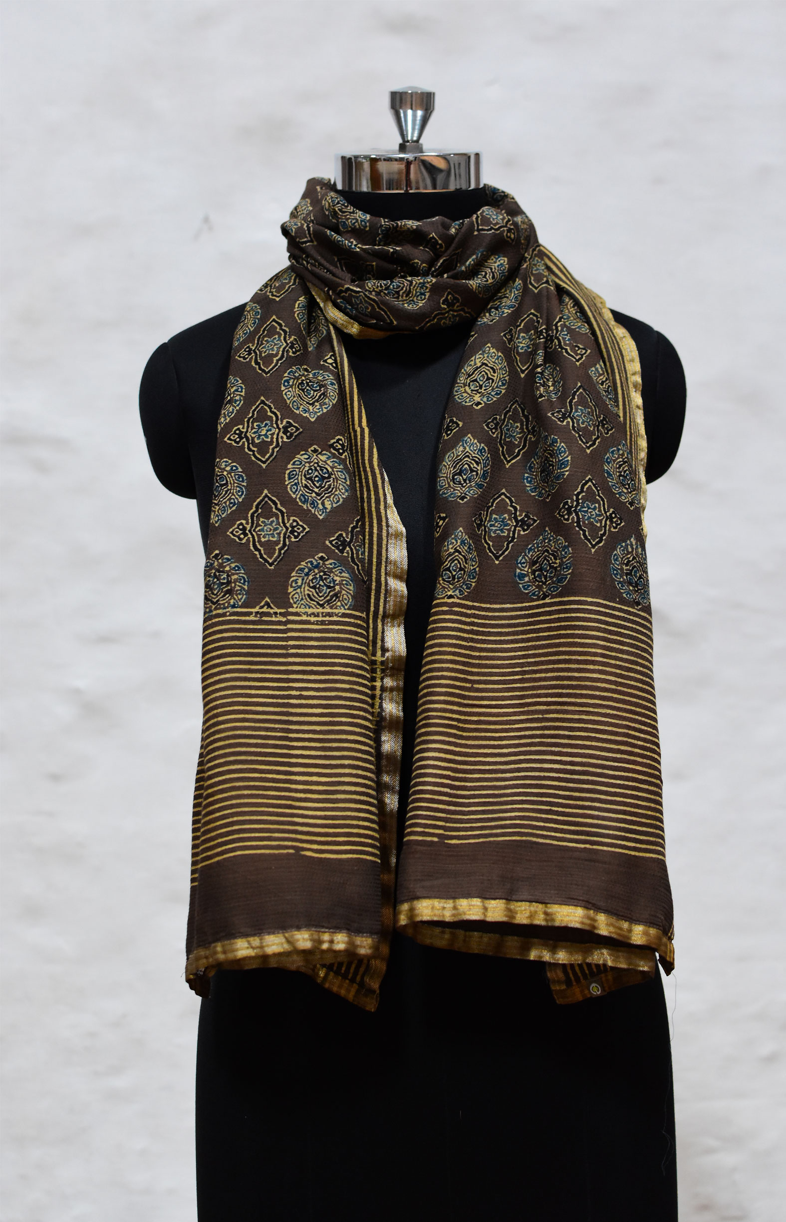 Brown, Handloom Organic Cotton Stole