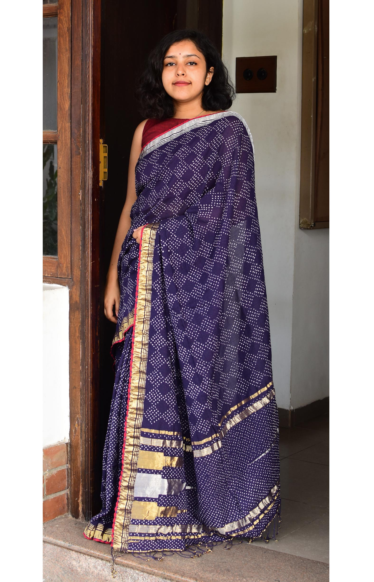 Bluish Purple, Handloom Organic Cotton Saree