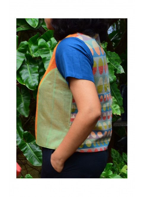 Green,Orange and Blue, Handloom Organic Cotton Blouse (SIZE M/SIZE 10)