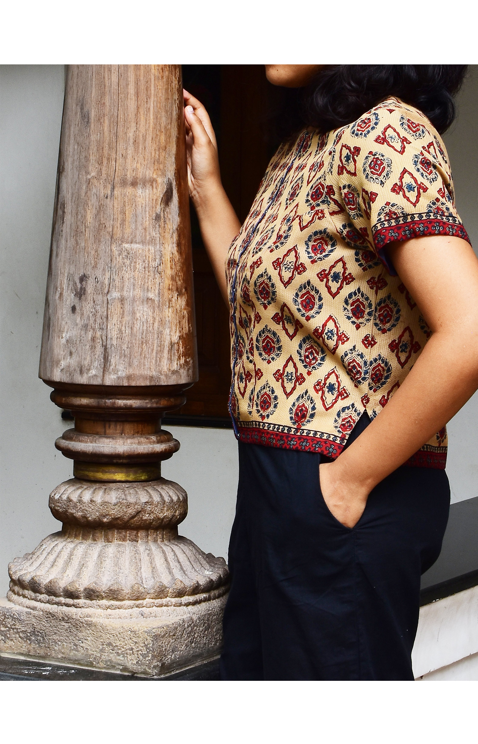 Beige & Red, Handloom Organic Cotton Blouse (SIZE M/SIZE 10)