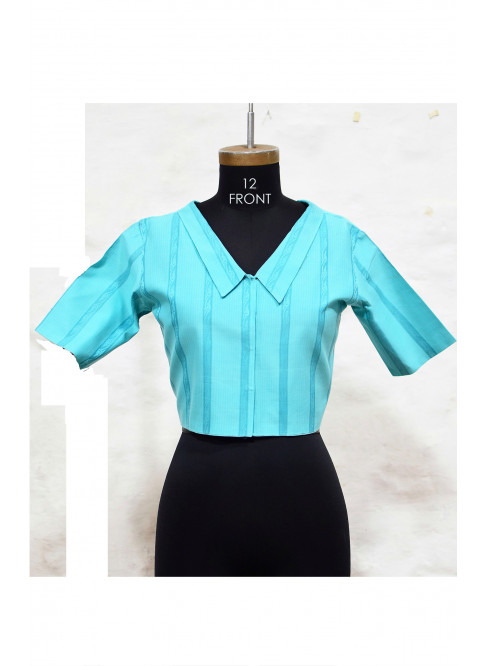 Blue, Handloom Organic Cotton Blouse with Collar (Size L / Size 12)