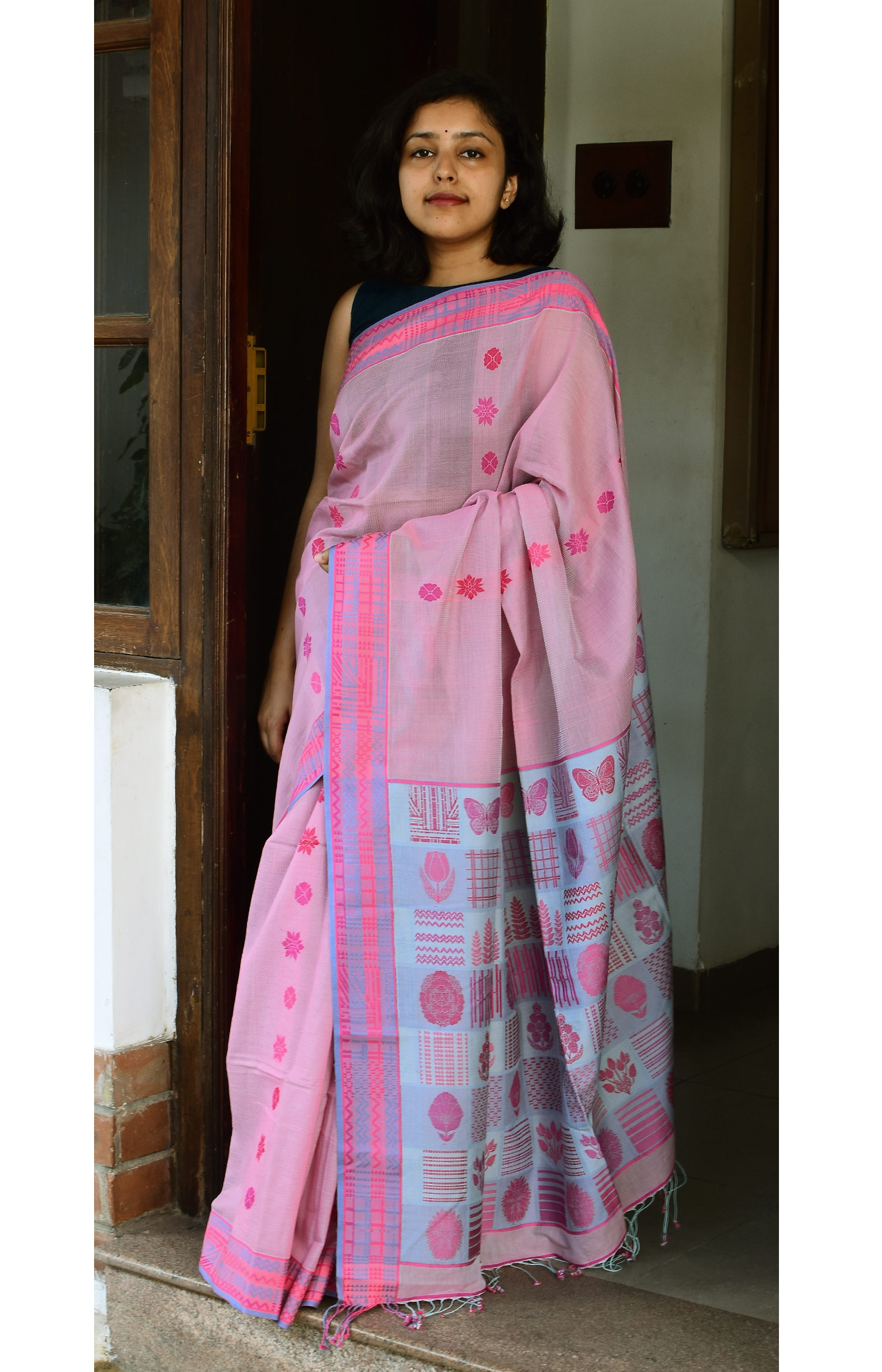 Pinkish Blue, Handloom Organic Cotton Saree