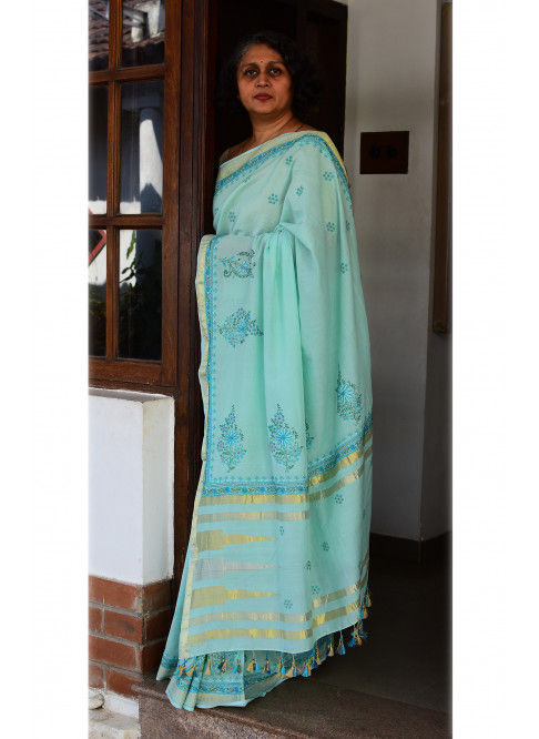 Bluish Green, Handloom Organic Cotton Saree