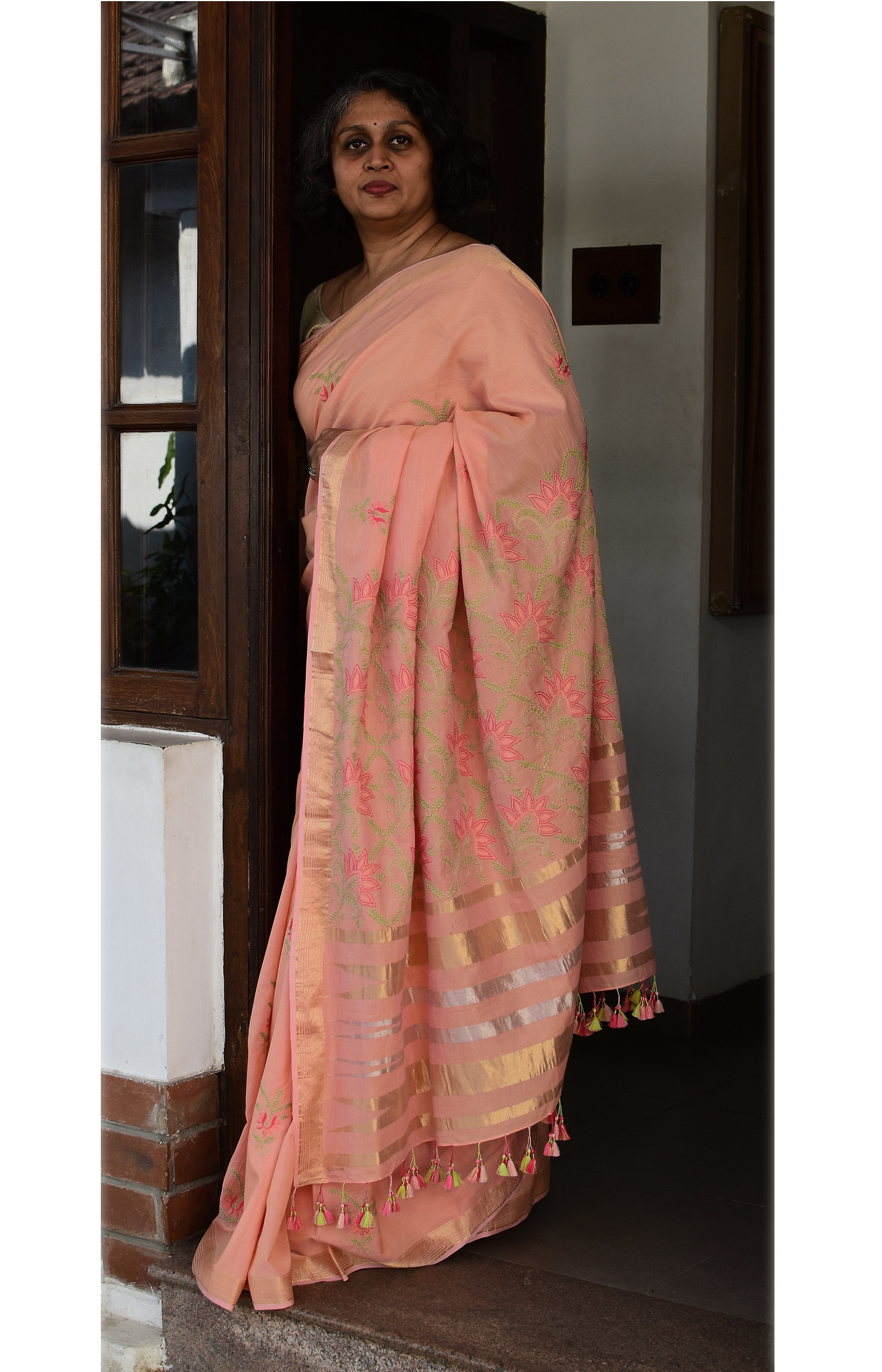 Orangish Pink, Handloom Organic Cotton Saree