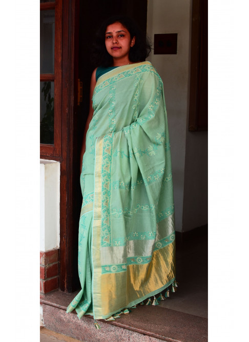 Greenish  Blue, Handloom Organic Cotton Saree