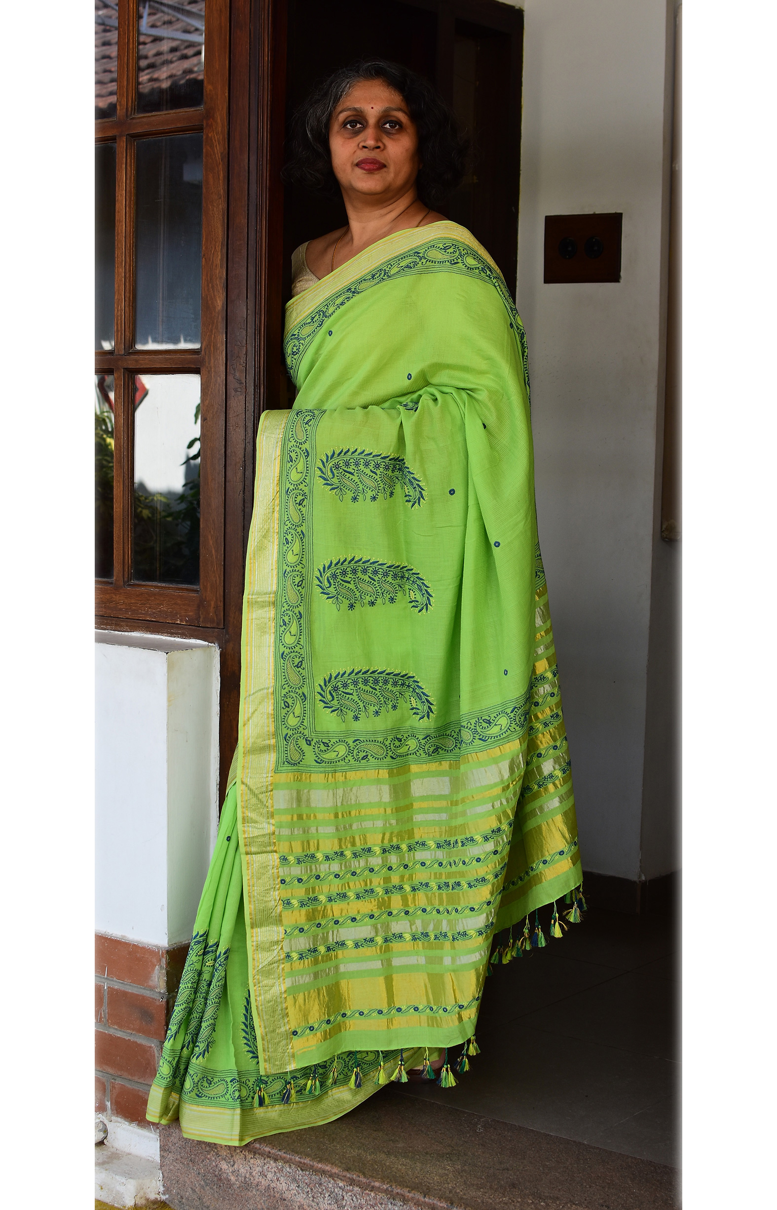 Parrot Green, Handloom Organic Cotton Saree