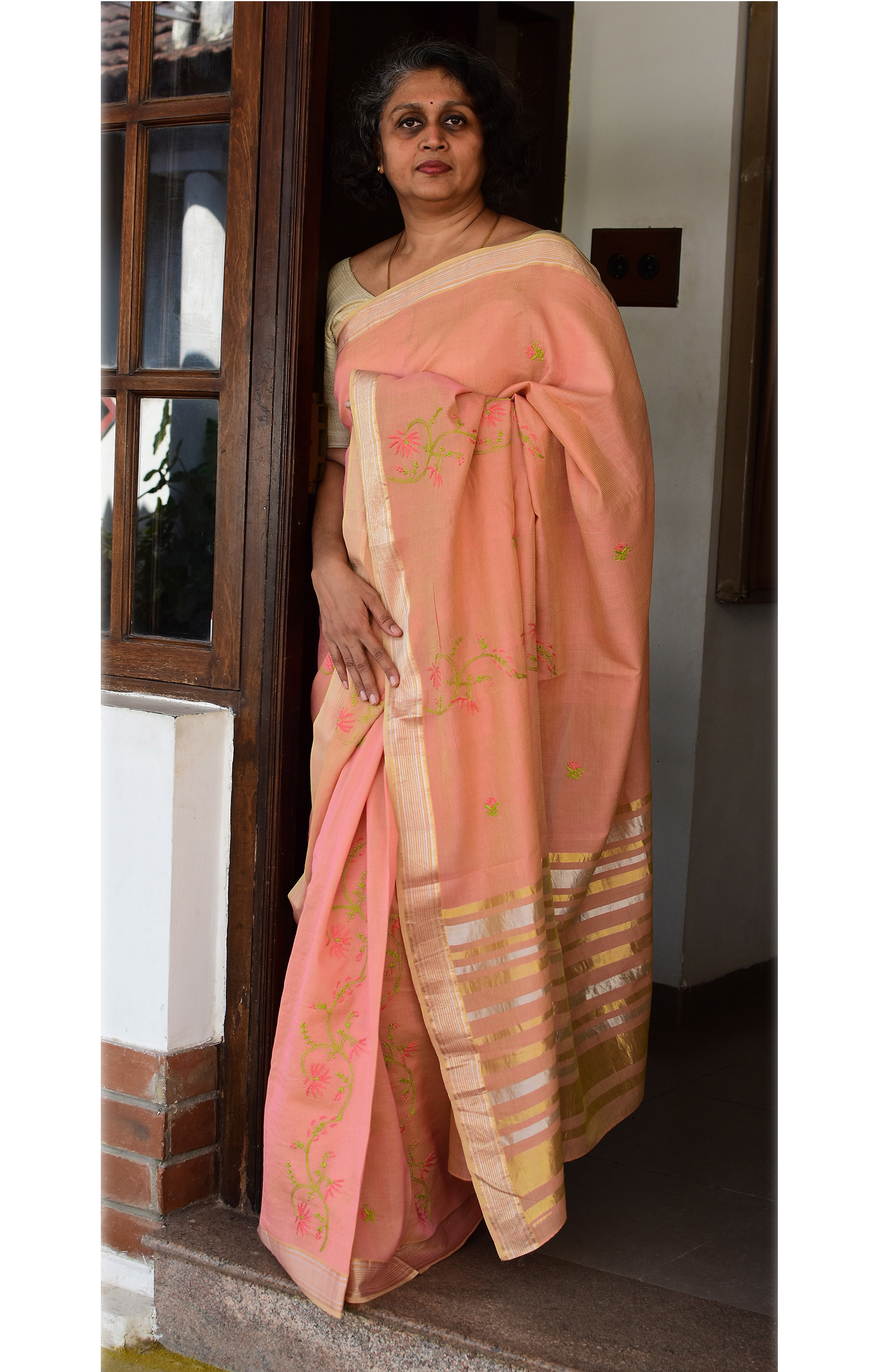 Pinkish Orange, Handloom Organic Cotton Saree