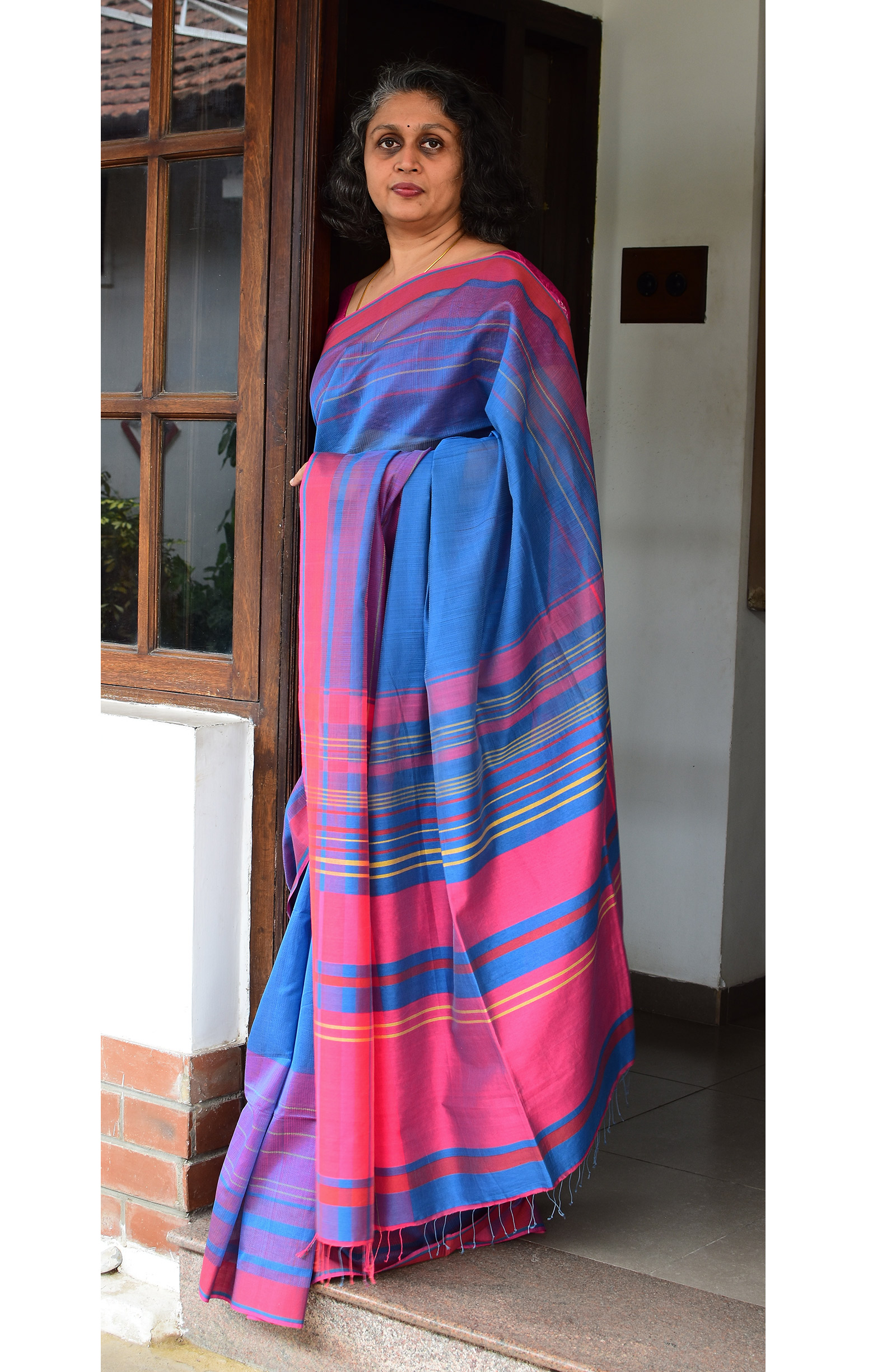 Blue, Handloom Organic Cotton Saree