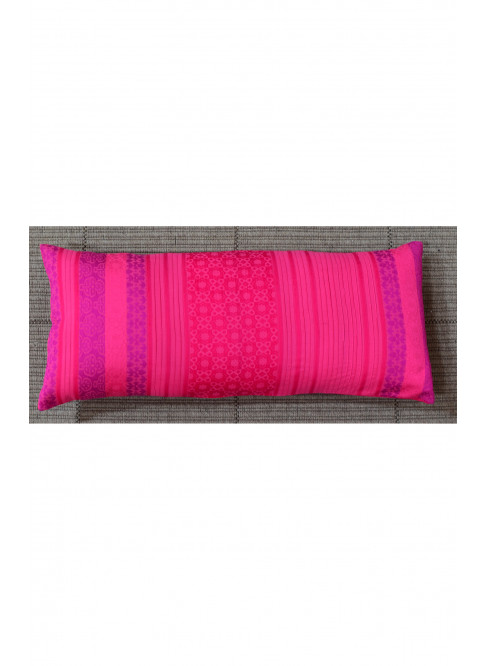 "Handloom Organic Cotton Cushion Cover Pink Size 12"" x 27"""