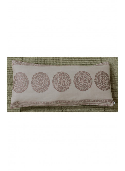 "Handloom Organic Cotton Cushion Cover Brown Size 12"" x 27"""