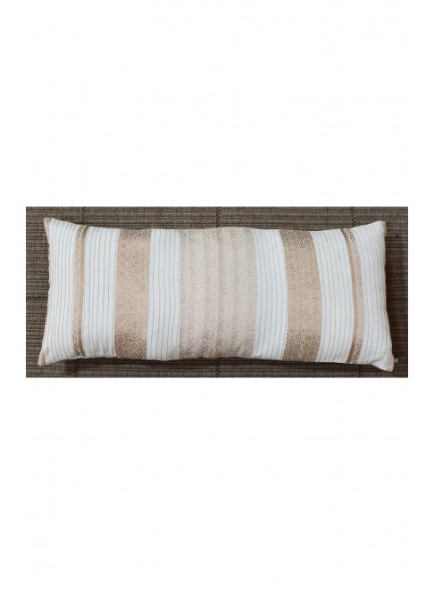 "Handloom Organic Cotton Cushion Cover Cream and Gold Size 12"" x 27"""