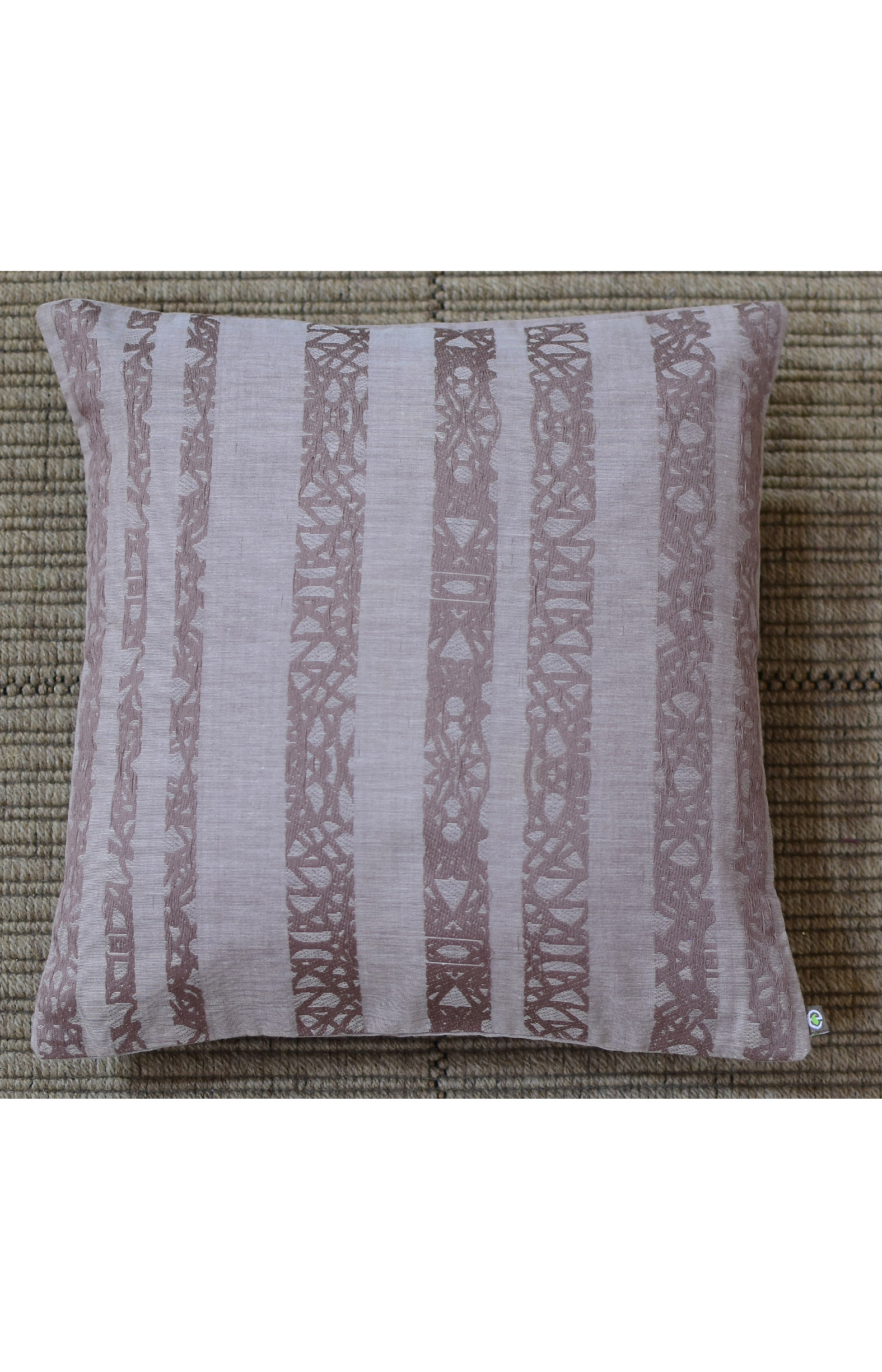 "Handloom Organic Cotton Cushion Cover Brown Size 12"" x 12"""
