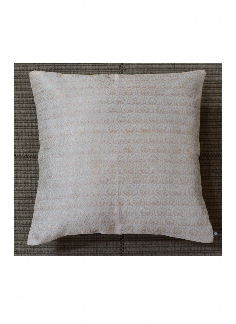 "Handloom Organic Cotton Cushion Cover Off-White with Gold  Size 16"" x 16"""