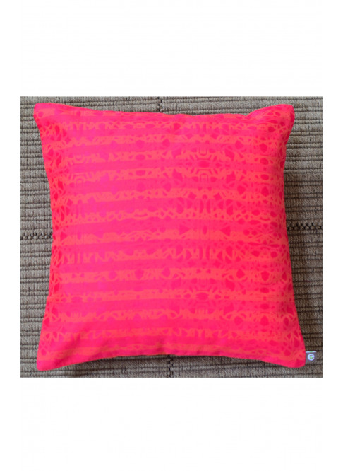 "Handloom Organic Cotton Cushion Cover Pink with Orange Size 12"" x 12"""
