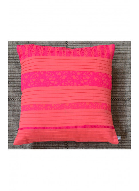 "Handloom Organic Cotton Cushion Cover Pink and Orange Size 12"" x 12"""