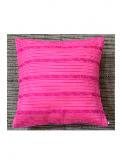 "Handloom Organic Cotton Cushion Cover Pink Size 12"" x 12"""