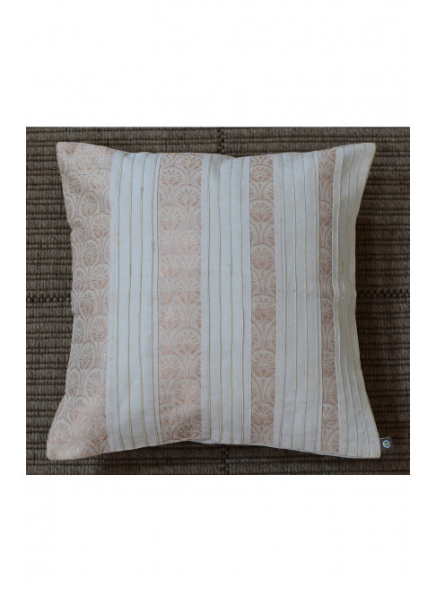 "Handloom Organic Cotton Cushion Cover Off-White with Gold Size 12"" x 12"""