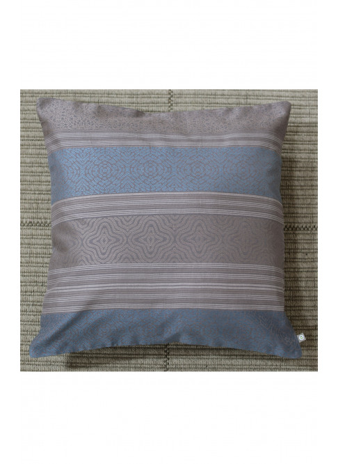 "Handloom Organic Cotton Cushion Cover Brown and Blue Size 16"" x 16"""