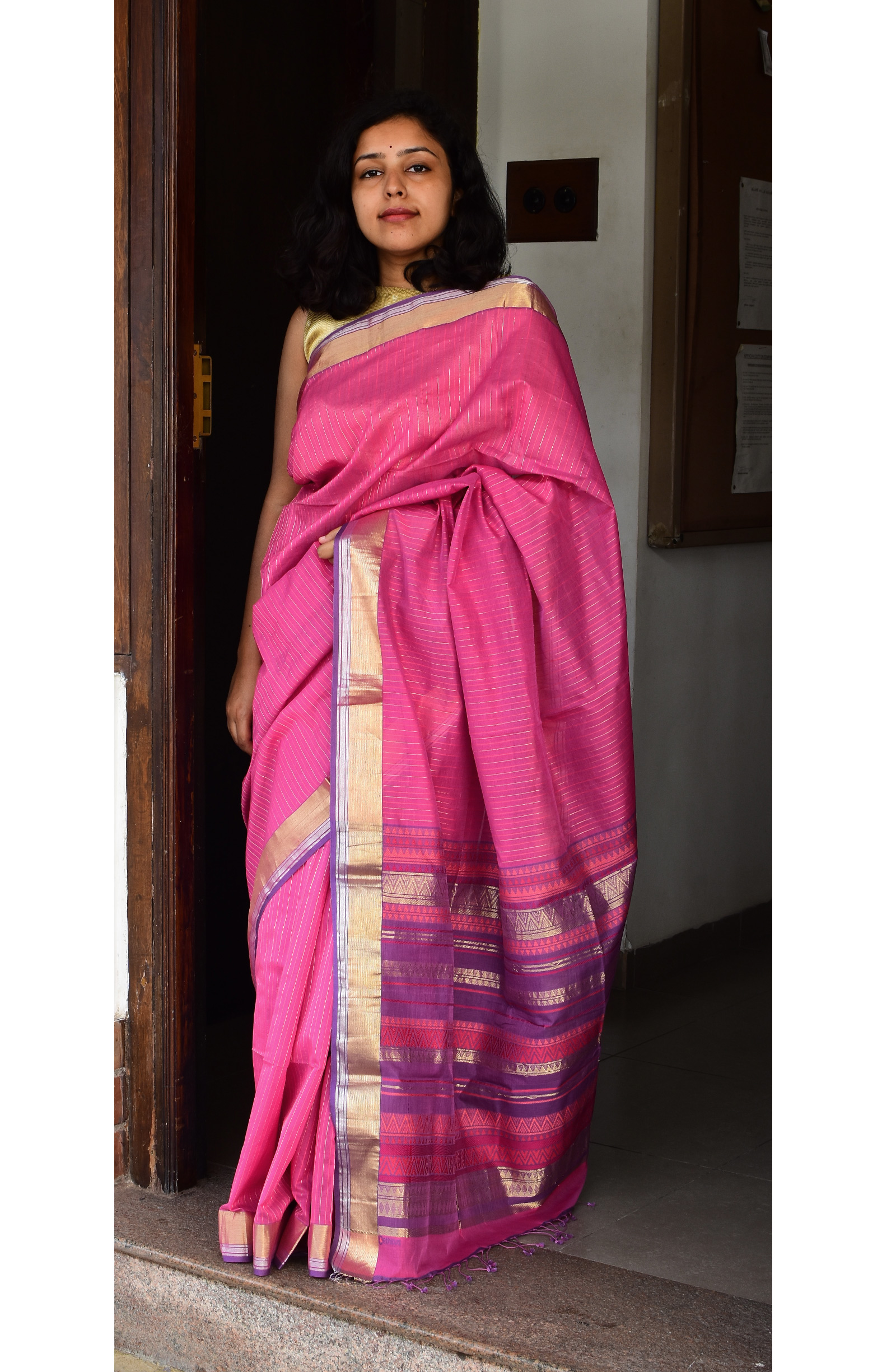 Purplish Pink, Handloom Organic Cotton Saree