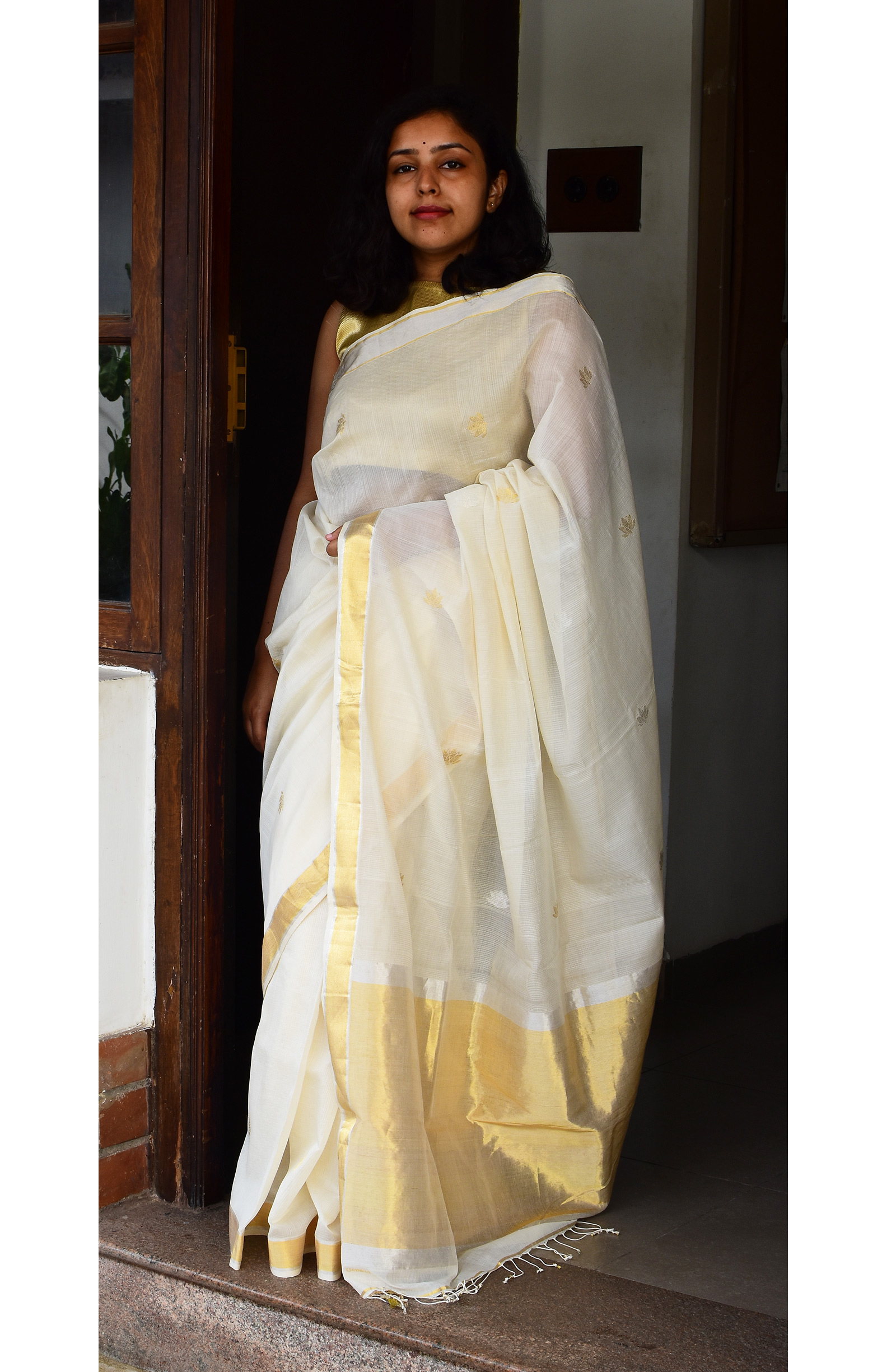 Off-White, Handloom Organic Cotton Saree