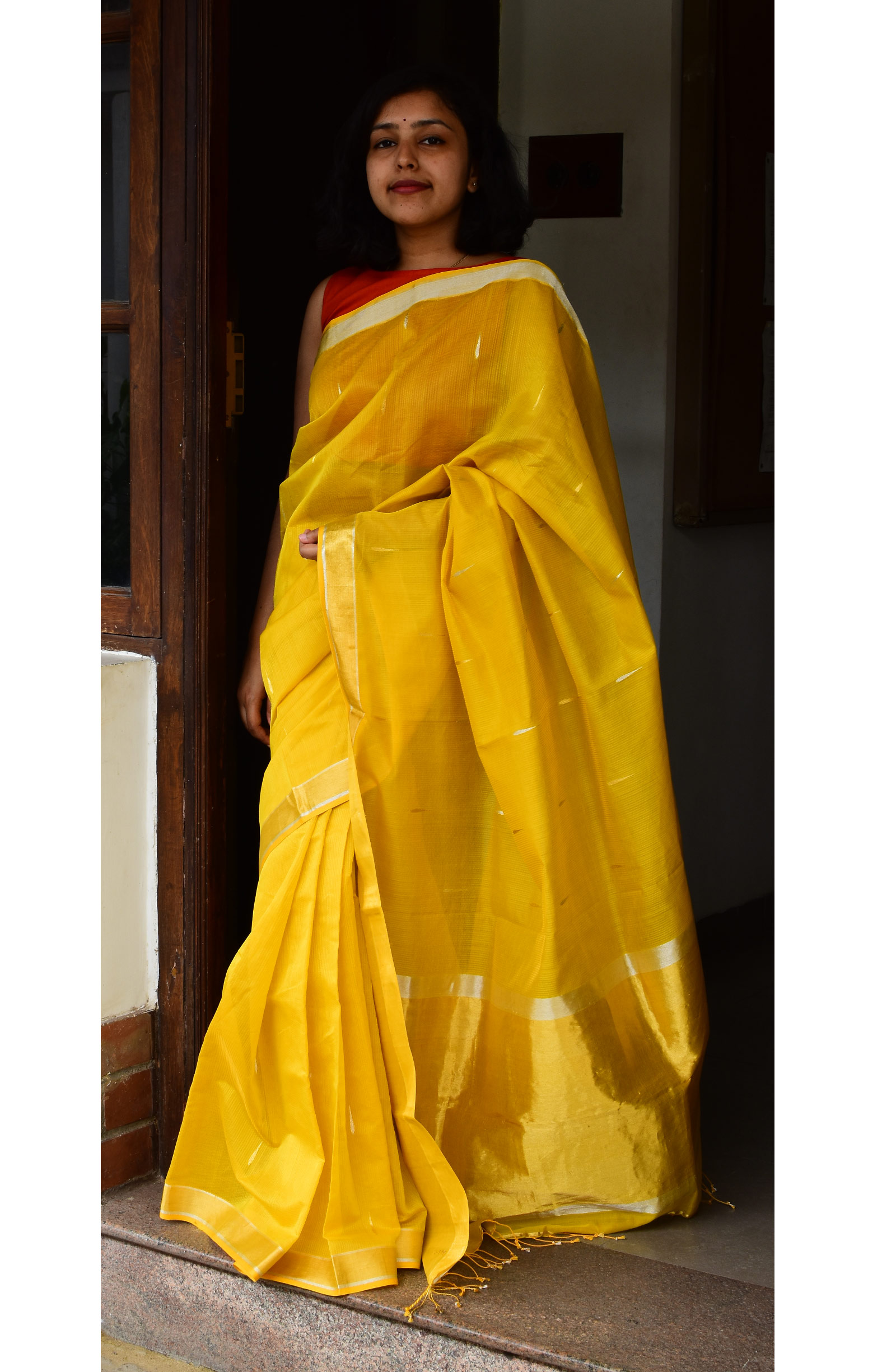 Golden Yellow, Handloom Organic Cotton Saree