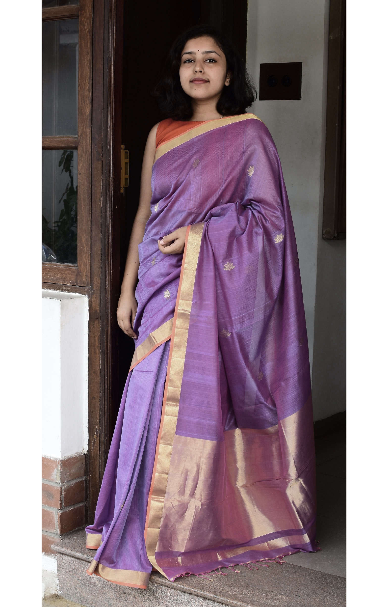 Purple, Handloom Organic Cotton Saree