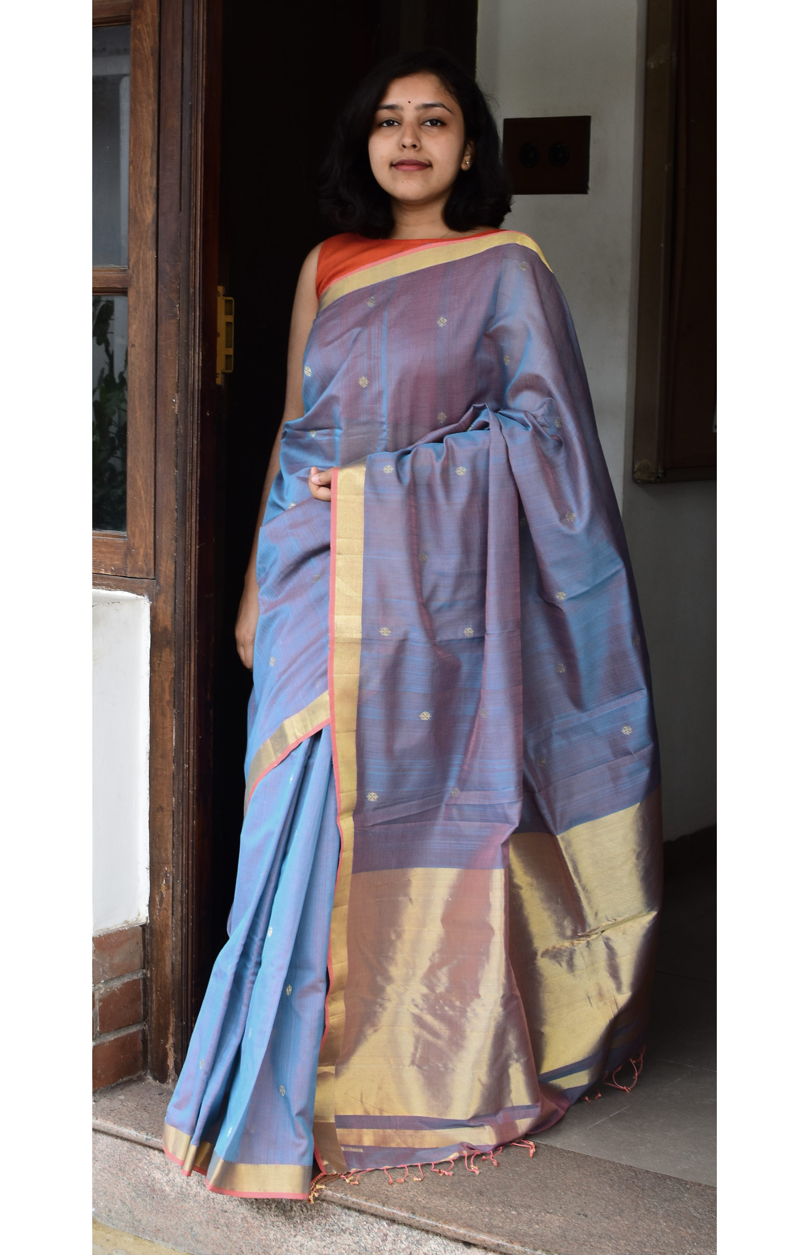 Bluish Red, Handloom Organic Cotton Saree