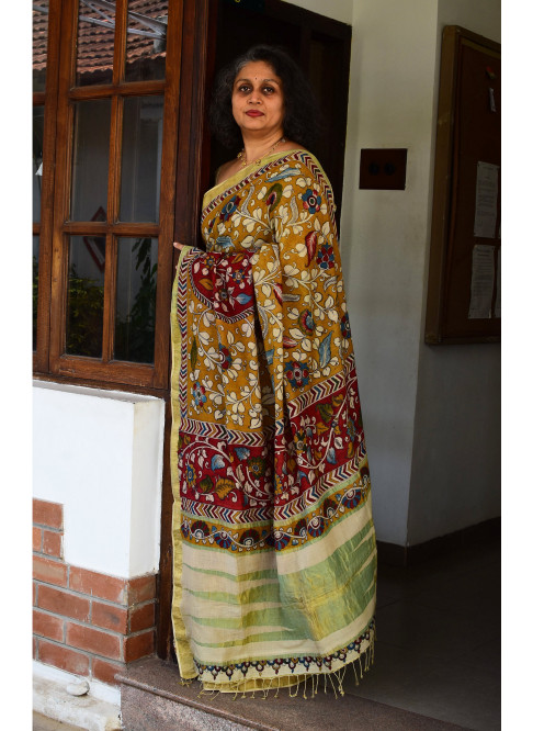 Mustard Yellow, Handloom Organic Cotton Saree