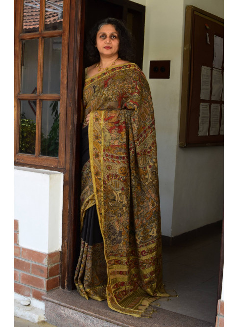 Black with Mustard Yellow, Handloom Organic Cotton Saree