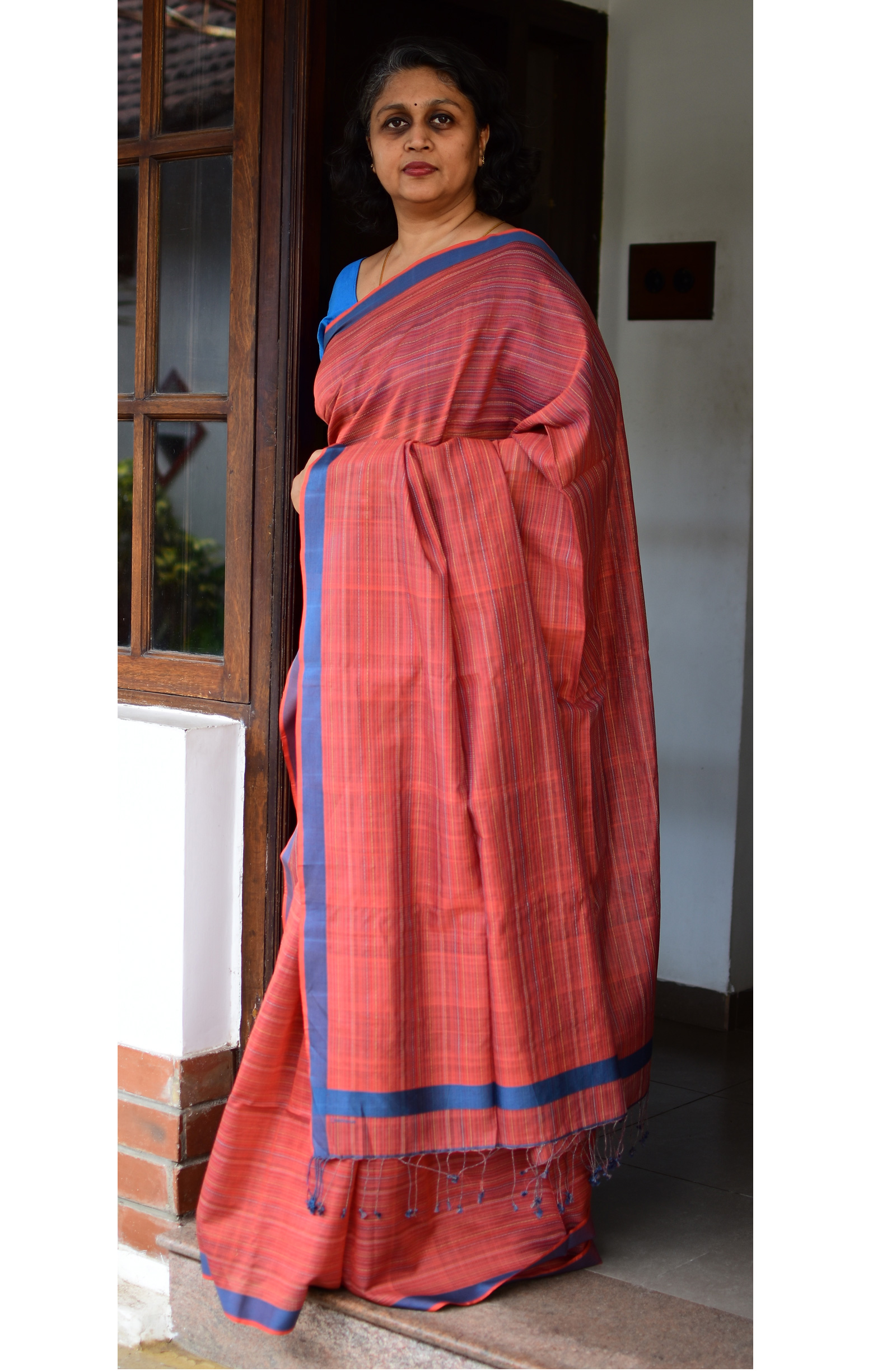 Rust Orange, Handloom Organic Cotton Saree