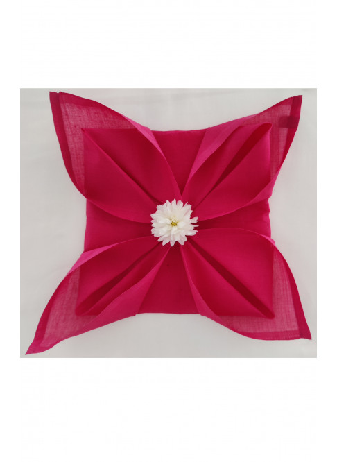 "Handloom Organic Cotton Napkins Fushia Plain  -Set of 6 (Size:14.25"""" x 14.25"")"