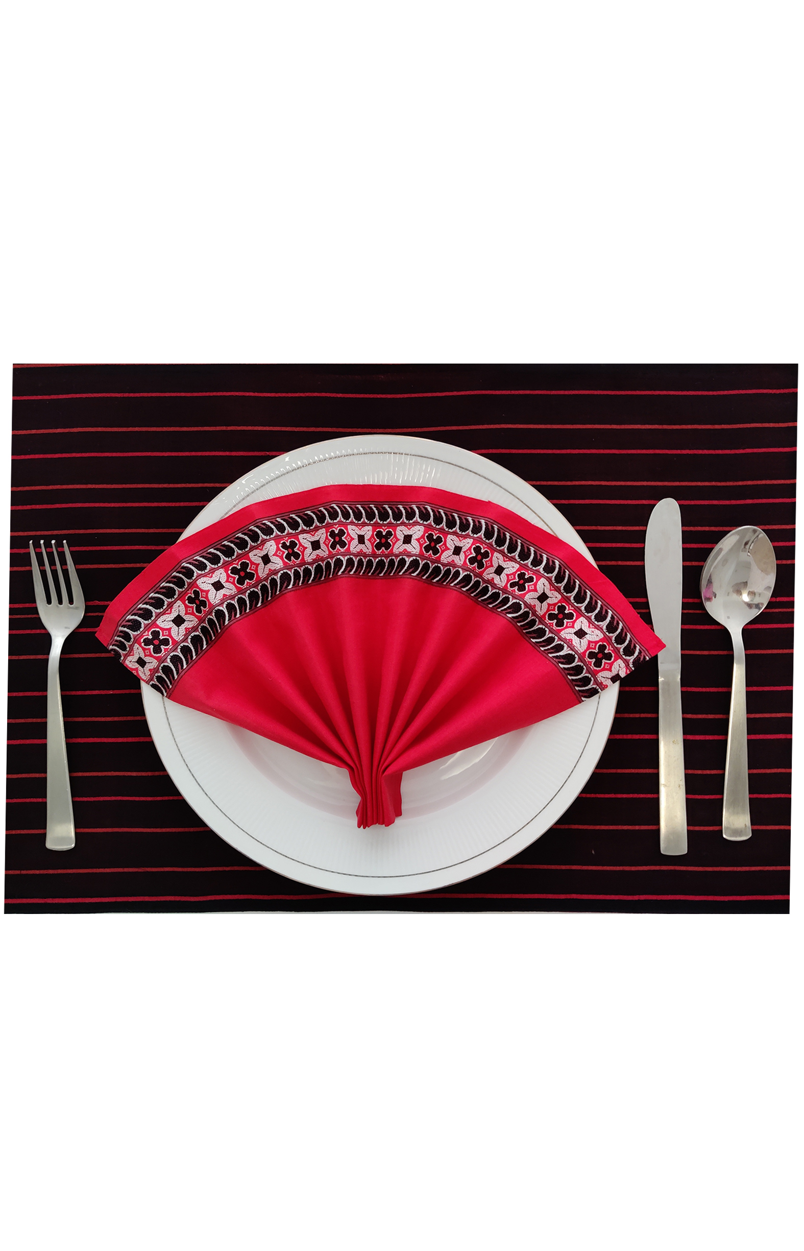 "Handloom Organic Cotton Reversible Placemats - Set of 6 (Size:13"" x 19"")"