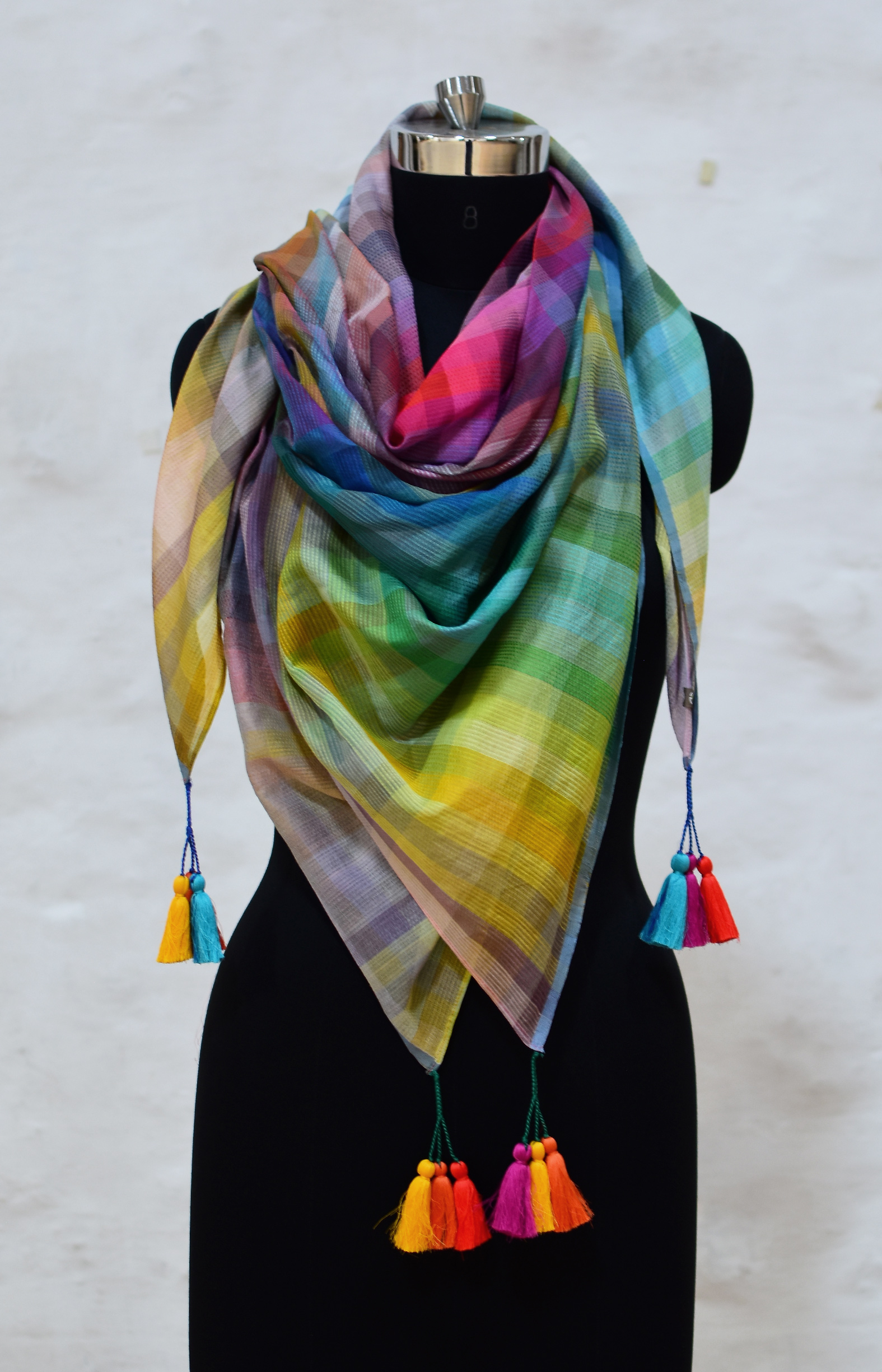 The 6400 Colour,Multicolour,  Rainbow, Handloom Organic Cotton Square Scarf