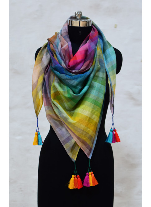 Collection-The 6400 colour Colourburst  'Rainbow Square Scarf'-SC/23A