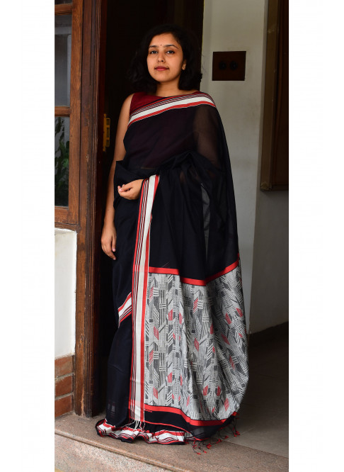 Black, Handloom Organic Cotton Saree