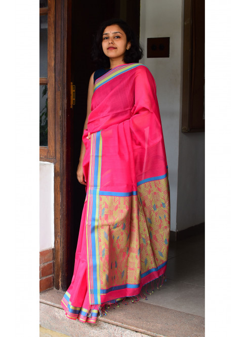 Fushia Pink, Handloom Organic Cotton Saree