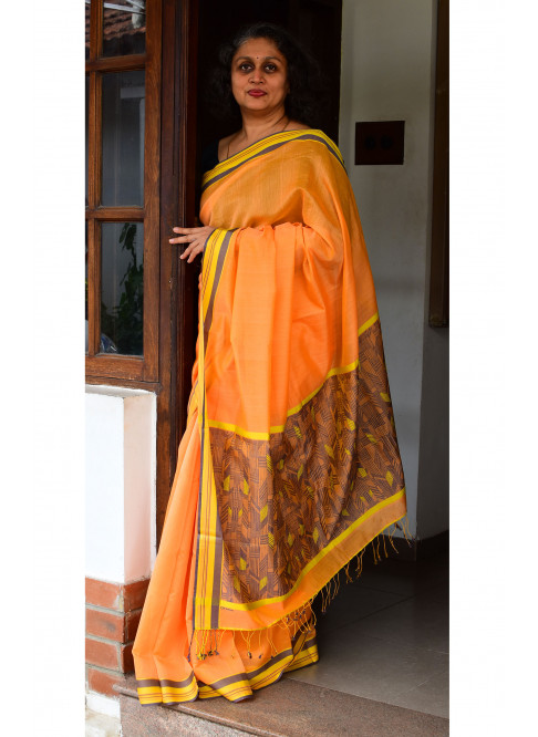 Orangish Yellow, Handloom Organic Cotton Saree