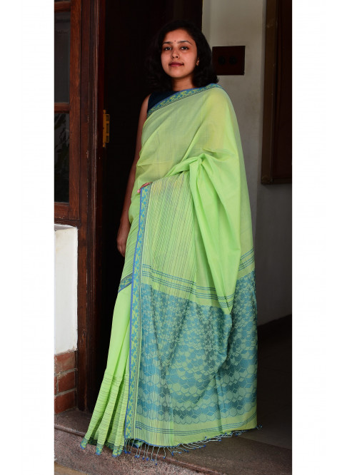 Green, Handloom Organic Cotton Saree