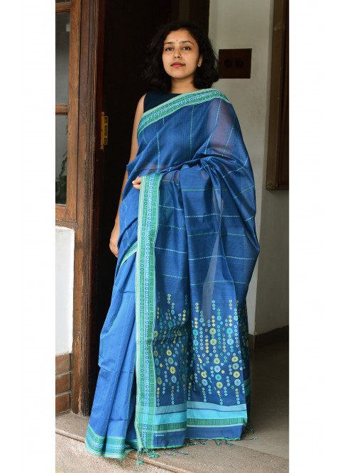 Indigo Blue, Handloom Organic Cotton Saree