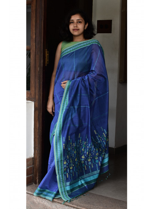 Electric  Blue, Handloom Organic Cotton Saree
